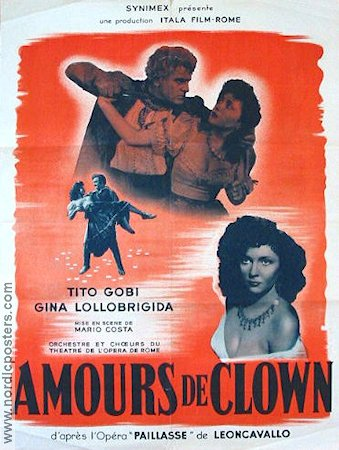 Amours de Clown 1947 poster Gina Lollobrigida