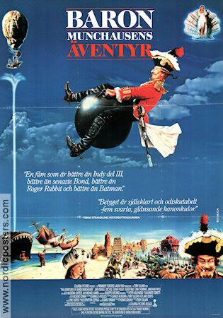 Baron Münchausens äventyr 1989 poster Uma Thurman Terry Gilliam