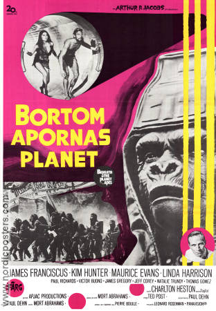 Bortom apornas planet 1970 poster James Franciscus