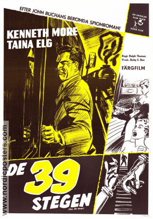 De 39 stegen 1959 poster Kenneth More