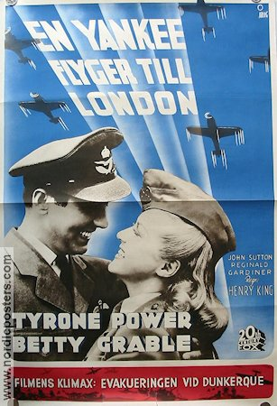 En yankee flyger till London 1942 poster Tyrone Power