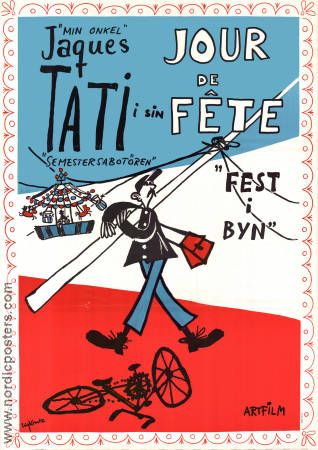 Fest i byn 1949 Filmaffisch Jacques Tati Guy Decomble