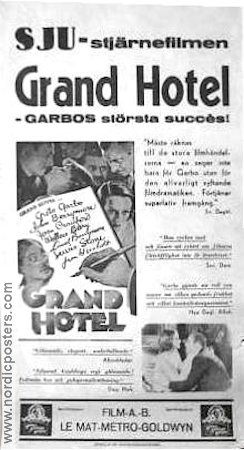 Grand Hotel 1933 poster Greta Garbo