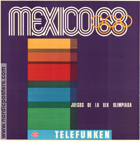 Olympic Games Mexico Telefunken 1968 affisch
