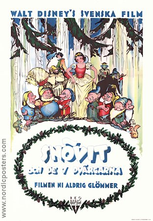 Film Poster Snow White and the Seven Dwarfs 1937 Sweden