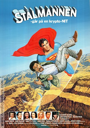 St�lmannen g�r p� en Krypto-nit 1983 Filmaffisch Christopher Reeve Richard Pryor Superman
