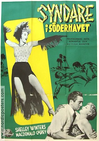 Syndare i Söderhavet 1950 poster Shelley Winters